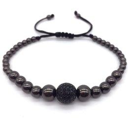 Wholesale Silver Beaded Ball Chain - 2016 New Anil Arjandas Diy Design Braiding Macrame Men Silver Plated Bracelets Pave Black CZ Ball Connector Charm Bracelets