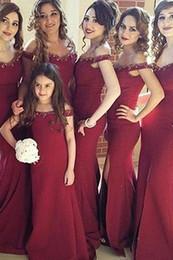 2019 fora do ombro pegar vestido de baile Fora do ombro sereia vestido de baile frisado decote vestido de noite borgonha formal vestidos para mãe e filha
