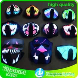Wholesale Led Lights For Halloween Masks - LED Glowing Mask High Quality 1pc Waterproof Face Mask Light Up Flashing Luminous for Halloween Party Costume Decoration Kids Gift WD407