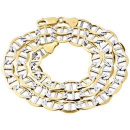 Wholesale Mariner Gold Chain - Real 10K Yellow Gold Diamond Cut Solid Mariner Chain 9mm Necklace 22-30 Inches