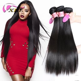 Wholesale Straight Indian Virgin Remy - XBL Silky Straight Human Hair Weave Virgin Human Hair Brazilian Human Hair Weft 3 4 Pieces One Set