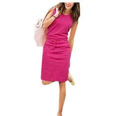 Wholesale Bohemian Halter - New Design Vestidos 2016 Summer Fashion Women Ladies Casual Dress Roound Neck Sleeveless Solid Slim Dresses Plus Size S-XL