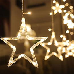 Wholesale Christmas Window Star Lights - Wholesale- Stars waterproof Lamps outdoor Lighting Strings window curtain christmas festival wedding holiday decoration Flasher Fairy Light