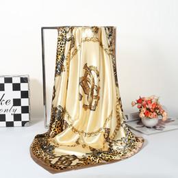 Wholesale Wholesale Squared Silk Printed Scarves - 6PCS Leopard Scarf Women Fashion Luxury Brand Print Large Square Silk Scarfs 2018 New Foulard Head Hijab For Wholesale 90*90cm