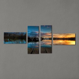 Wholesale Painting Home Images - Modern Landscape Painting 4 Piece Canvas Art Modular Pictures of Lake Scenery Giclee Print from HD Image for Home Decoration
