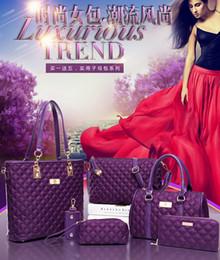 Wholesale Blue Key Tassel - 2016 6pcs lot Purple P12 with Women girl embossed handbags shoulder bags messenger bags purse wallets key cases makeup bags Leisure wild bag