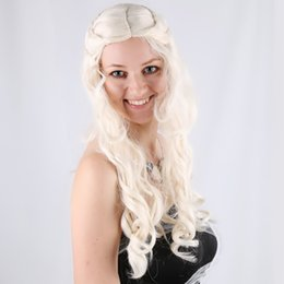 Wholesale Cosplay Game Girl - 2016 Hot New Cartoon Daenerys Targaryen Wig Cosplay Wigs the Game Of Thrones Long Curly Hair LF0723