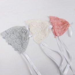 Wholesale Bonnet Crochet - Newborn Baby Girls Photo Photography Prop Lace Floral Hat Cap Beanie Bonnet baby lace hat 3 colors available