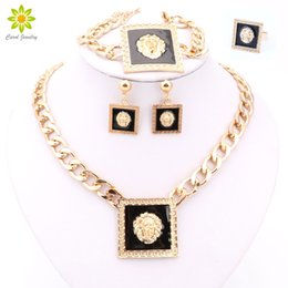 Wholesale Crystal Lion Head Necklace - New Design Gold Silver Plated Square Lion Head Pendant Necklace Earrings Ring Bracelet Exaggerate Jewelry Sets