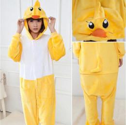 Wholesale Adult Duck Pajamas - Sweet Little Yellow Duck Kigurumi Pajamas Animal Suits Cosplay Outfit Halloween Costume Adult Garment Cartoon Jumpsuits Unisex Sleepwear