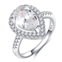 Wholesale White Pear Cut Diamond Ring - 40% Big Promotion Wholesale Luxury Jewelry 925 Sterling Silver Pear Cut 5A Cubic Zirconia CZ Diamond Party Women Wedding Heart Ring Gift