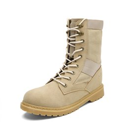 Wholesale White Rubber Combat Boots - 2017 New Fashion winter boots Genuine Leather Tactical Men's working Combat Hunting Military Boots Suede Stitching Canvas size 39-44