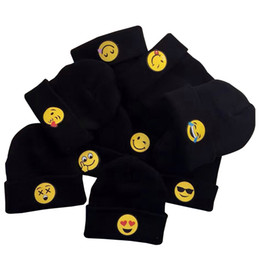 Wholesale winter caps for baby girl - 2016 fashion QQ face expression children hats baby kintted caps for winter and autumn emoji hats