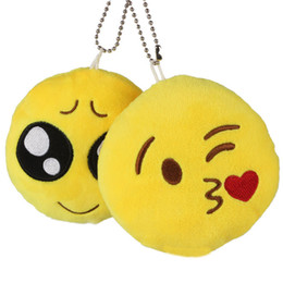 Wholesale Cell Phone Charms Doll - 200pcs Cute Creative Emoji Soft Stuffed Plush Toy Round Emotion Smiley Doll Gift Home Decor Key Chain Bag Cell Phone Straps ZA0866