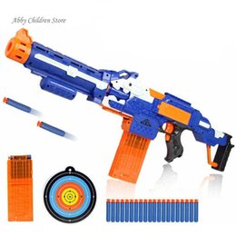 Wholesale Nerf Rifle - Soft Bullet Toy Gun Sniper Rifle Nerf Plastic Gun & 20 Bullets 1 Target Electric Gun Toy Christmas Birthday Gift Toy For Child