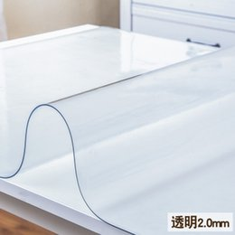 Wholesale Glass Dining Tables - Soft Glass Transparency PVC Table Cloth Waterproof Antependium Party Wedding Home Kitchen Dining Placemat Pad Thickness 2mm
