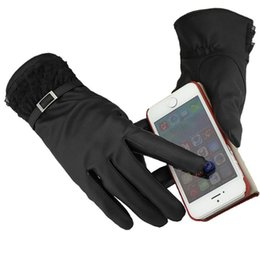 Wholesale Leather Cashmere Touch Screen Gloves - Wholesale-Winter Sport Leather Gloves Men's Keep Warm Waterproof Snowboard Gloves For Touch Screen Thicken Cashmere Driving Fitness