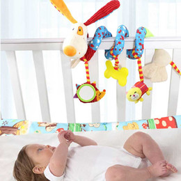 Wholesale Musical Dog Baby Toys - Wholesale- Lovely Interesting Baby Rattles Infant Doll Baby Crib Stroller Toy Plush Birds Musical Ringing Newborn Bed Dog Hanging Soft Play