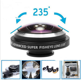 Wholesale Len Clip Eye - Universal 235 degree Clip Super cell phone Fish eye lens Fisheye selfie Camera Len with retail boxes for iPhone 7 plus Samsung S6 Note 5 7