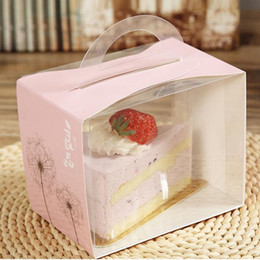 Wholesale Printed Cake Boxes - 12X8X10CM PVC Cake Box Portable Transparent Window Display Pastry Biscuit Cupcake Boxes Baking Packaging Case ZA5548