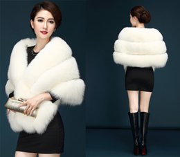 Wholesale Grey Wedding Cape - 2017 Long Sleeves Fur Shawl Capes Wedding Bolero Jacket Wraps Faux Fur Bridal Cape Jackets In Stock Cheap White Black Grey Red Burgundy