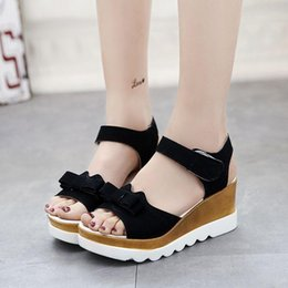 Wholesale Lime Green Wedge - Roman style Wedges bow Sandals Casual Open Toe Summer Shoes Fashion Buckle Platform Thick Soled Shoes DHL Free shipping lot drop shipping