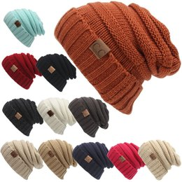 Wholesale Wholesale Skully Hats - 17 Colors CC Soft Chunky Beanies Winter Warm Headware Knitted Skully Caps Stretch Hats for Men Women