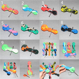 Wholesale Wholesales Hand Tools - Hot Sale Silicone Rig silicone smoking pipe Hand Spoon Pipe Hookah Bongs 10Colors silicon oil dab rigs with dab tool DHL