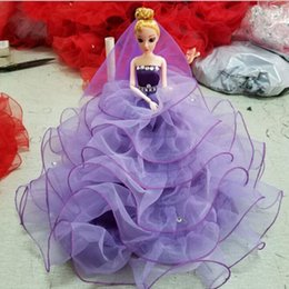 Wholesale 3d Real Dolls - Large Size Beautiful 3D Real Eye Barbie Doll+ Wedding Dress 2017 Fashion Toys For Kids Girls Play House Toy