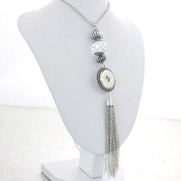 Wholesale Diy Vintage Fashion - Fashion Metal Crystal Tassel Pendant Necklace DIY 18mm Metal Snap Button Trendy Vintage Ethnic Style Jewelry Wholesale