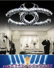 Wholesale 5w Led Lighting Fixtures - LED 5w 18w 35w crystal chandeliers modern led pendant light silver amber flush mount ceiling light fixtures 110-240V for living room MYY