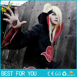 Wholesale Naruto Anime - New Fashion Unisex Cosplay Costumes Japan Anime Naruto Itachi Akatsuki Cosplay Robes Cloak Party Costumes