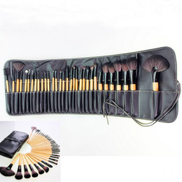 Wholesale 32 Pieces Make - Artists Recommended Professional Makeup Brush Set 32 Pieces with Leather Case Academic Make up Tools Accessories