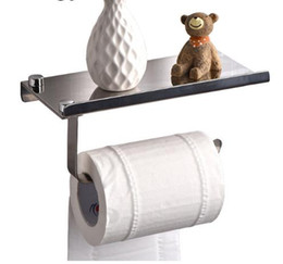 Wholesale Toilet Roll Holders Wholesale - Concise wall mounted toilet paper holder Bathroom fixture Stainless Steel roll paper holders With Phone shelf