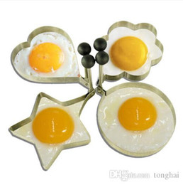 Wholesale Heart Shaped Pancake Mold - Wholeale stainless steel omelette mould device love surprise eggs ring model set heart shape egg mold styling tools ferramentas H210286