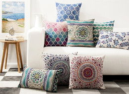 Wholesale Geometric Pillow Covers - Free shipping watercolor geometric zigzags chevrons dots flower leaf circels lantern pattern cushion cover home decorative throw pillow Case