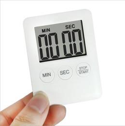 Wholesale Magnet Timer - 2 Colors Square Large LCD Digital Kitchen Timer Cooking Timer Alarm Clock Magnet Despertador Digital Table Clock Temporizador YYA789