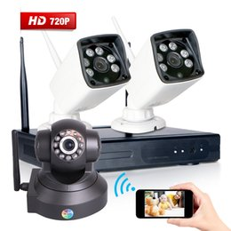 Wholesale Waterproof Wireless Security Camera Systems - 720P Home Wireless Security Camera System 2PCS 4CH P2P Wifi Outdoor waterproof IR-CUT Camera Surveillance