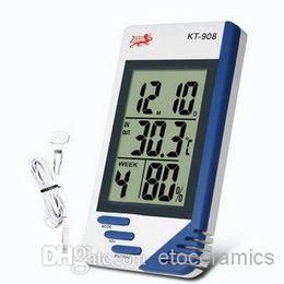Термометр гигрометр часы наружные онлайн-3 в 1 ЖК-цифровой крытый открытый температура тестер термометр гигрометр измеритель влажности часы КТ-908