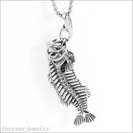 Wholesale Fossil Silver Necklace - Cool Jewelry Newest Fish Bone Fossil Pendant Chain 316L Stainless Steel Silver Men's Necklace Xmas Gift