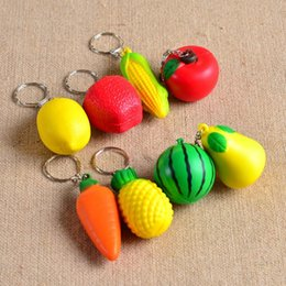 Wholesale Mobile Ornaments - Wholesale-Soft PU Foam Ball Shape keychains toy charm Tropical Fruit Mobile Chain keyring Hanging Ornament phone pendant accessory