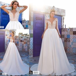 Wholesale White Beaded Bridal Belt - 2017 New Arrival Saudi Arabic Backless A-line Wedding Dresses Sheer Crew Neck Long Sleeves Lace Bodice Bridal Gowns with Beaded Belt