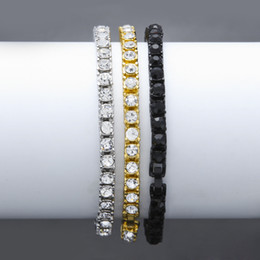 Wholesale Vintage 18k Gold Bracelet - Vintage Silver Plated Bling Full Rhinestone Miami Cuban Chains Bracelets Women Men Charm Hip Hop Jewelry Gifts