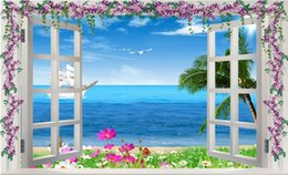 Wholesale 3d Scenery Photo - 3d wallpaper custom photo non-woven mural wall sticker beautiful window sea scenery painting picture 3d wall room murals wallpaper