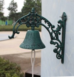 Wholesale Cabin Decorations - Cast Iron WELCOME Dinner Bell Wall Mounted Bell Metal Crafts Home Shop Store Decoration Door Cabin Antique Free Shipping