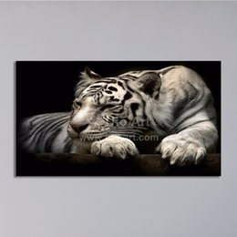 Wholesale Cheap Spray Sets - Modern Home Decoration Painting White Tiger Art Prints Digital Painting Set Canvas Prints Picture for Living Room Dropship Cheap