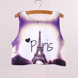 Wholesale Girl S Vogue Dress - Wholesale-Novelty Paris Eiffel Tower printed women cropped tanks new 2016 fashion design girls summer dresses vogue ladies crop top tees