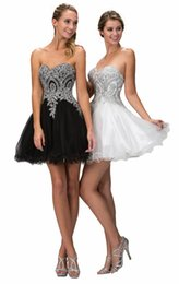 Wholesale Cheap Gothic Tops - Little White Short Prom Dresses Gothic Little Black Dresses Sweetheart Lace Top Corset Back A Line 2016 2017 Homecoming Under 100 Cheap New