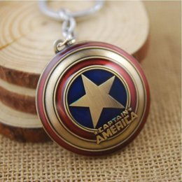 Wholesale Super Star Metal Women - In-business Marvel Super Hero The Avengers Captain America Shield Metal Keychain Anime Movies Accessories Zinc Alloy Key Chains Pendant