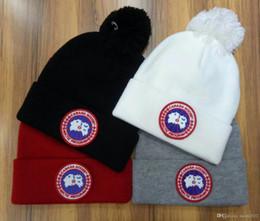 Wholesale White Cotton Beanie - Newest arrived Fashion Winter brand CANADA men beanies women Casual knitting cap ski Gorros pom-pom skull caps hair ball outdoor hats